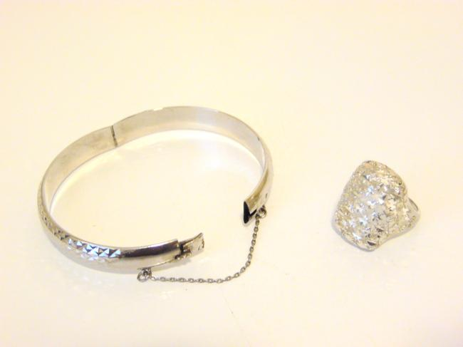 Item - .925 Platinum Clad Bracelet and Filigree 8 Ring