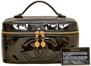 0da176b76488 Chanel Vanity Case Cosmetics Patent Leather Satchel in Black