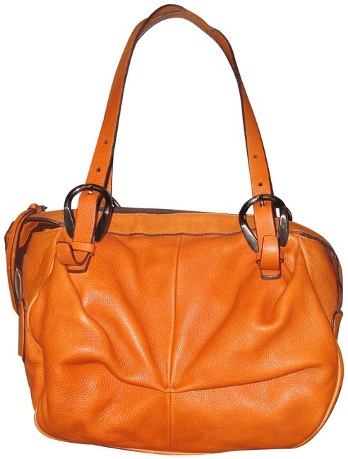 Item - Large Satchel Orange Leather Shoulder Bag