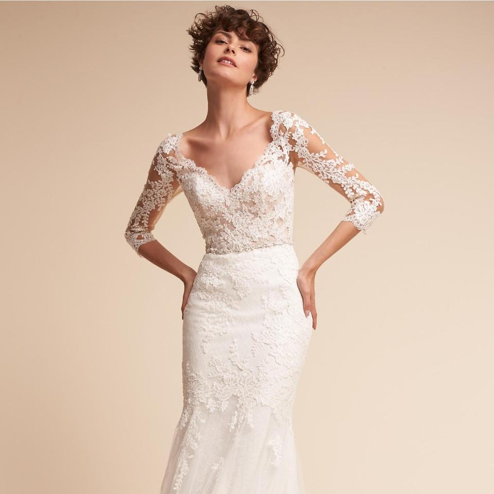 Pronovias Lace And Tulle Pique Gown Bhldn Feminine Wedding
