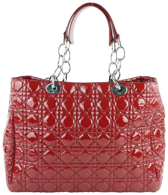Item - Shopping Tote Quilted Cannage Soft 3de0102 Red Patent Leather Shoulder Bag