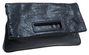 Miu Miu Leather Fabric Zipper Black Clutch