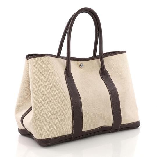Hermès Garden Party Toile Leather Tote in Beige Image 2