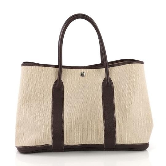 Hermès Garden Party Toile Leather Tote in Beige Image 3