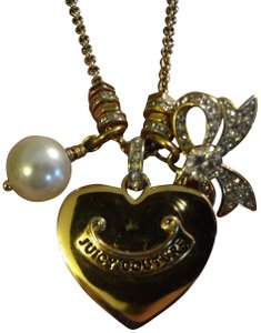 "Juicy Couture Juicy Couture**Rare** ""Black Label"" Multi-Charm Heart Banner Necklace"