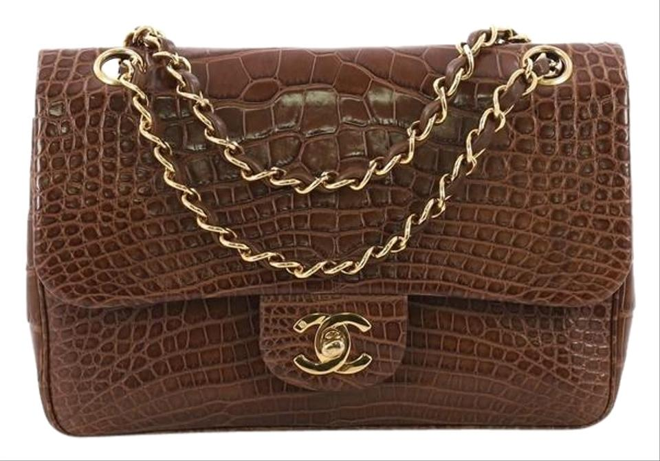 225eaf59b50861 Chanel Classic Flap Vintage Classic Double Small Brown Alligator ...