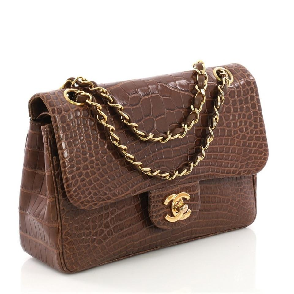 f71ad0d77fab Chanel Classic Flap Vintage Classic Double Small Brown Alligator Shoulder  Bag - Tradesy