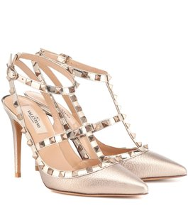 Valentino Studded Rockstud Chanel Gold Pumps