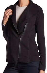 Bordeaux Drawstring Asymmetrical Zip Super Soft Comfy Cozy Dress Up Or Down Black Jacket