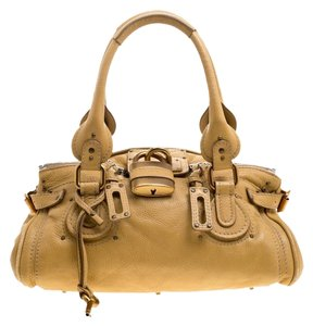 Chloé Leather Fabric Gold Tone Satchel in Yellow