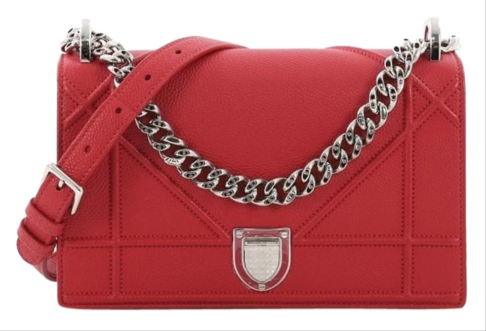 a6a2717e1c Dior Flap Diorama Grained Calfskin Small Red Leather Shoulder Bag 17% off  retail