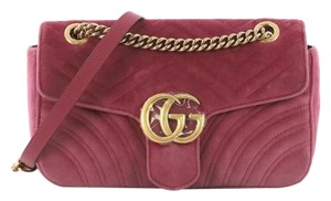 ea6e12ae458 Added to Shopping Bag. Gucci Velvet Shoulder Bag. Gucci Marmont Gg Flap Matelasse  Small Pink ...