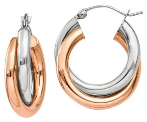 Apples of Gold 14K WHITE AND ROSE GOLD DOUBLE HOOP EARRINGS