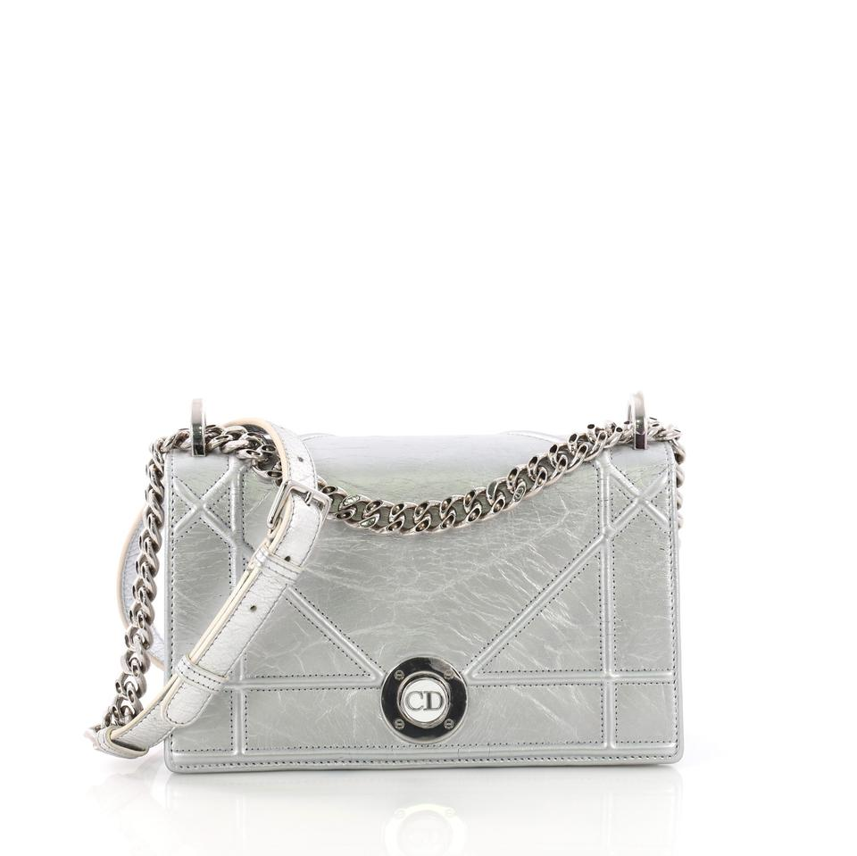 64ced57084d Dior Flap Diorama Clasp Crinkled Lambskin Small Silver Leather Shoulder Bag