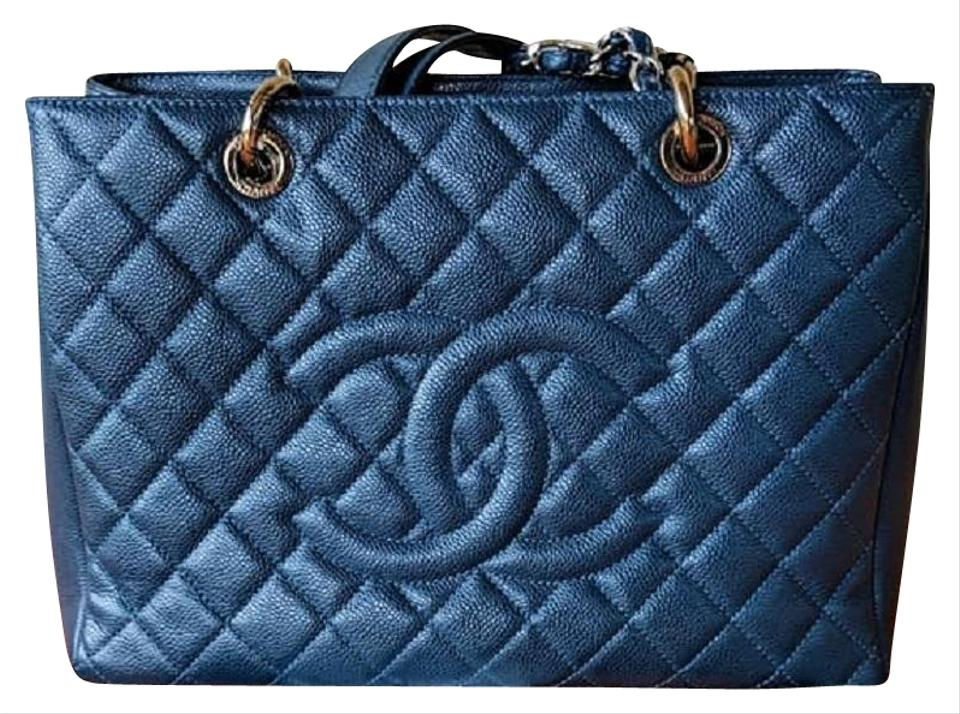 ecacc64cb606 Chanel Gst In Quilted with Silver Hardware Blue Caviar Tote - Tradesy