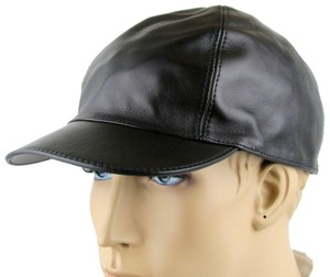 Gucci Black Leather Baseball Cap Hat with Script Logo S 368361 1000