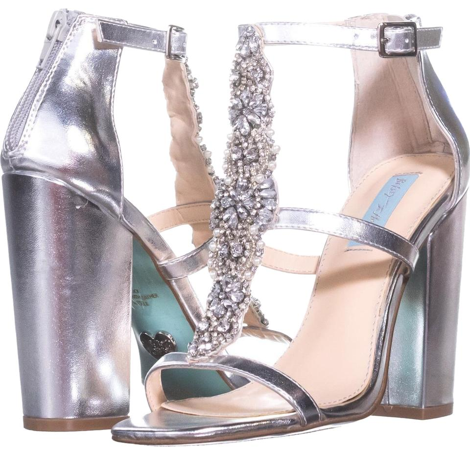5aa0ac00a088 Betsey Johnson Silver Blue By Lydia Dress Sandals 514 Silver Metallic Pumps.  Size  US 7 Regular ...