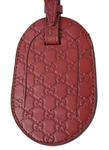 Gucci NEW GUCCI 295259 BURGUNDY RED LEATHER MICRO GG LUGGAGE TRAVEL TAG
