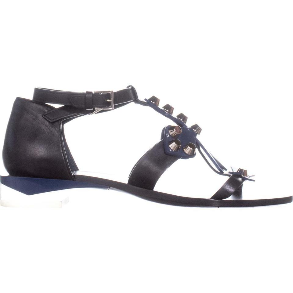 8ad68652035 Tory Burch Black T Aurora Ankle T-strap 095 Black Provence Blue ...