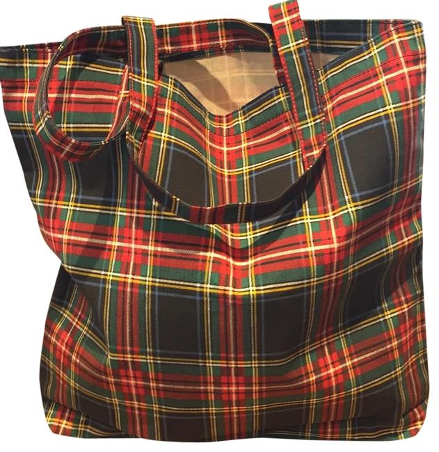Item - Holiday Canvas Red/Black Plaid Cotton Tote