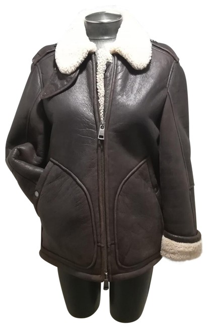 Item - Brown and Ivory Shearling Bomber Jacket Size 4 (S)