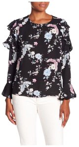 Harvé Benard Long Sleeves Ruffles Pink Bell Sleeve Top Black