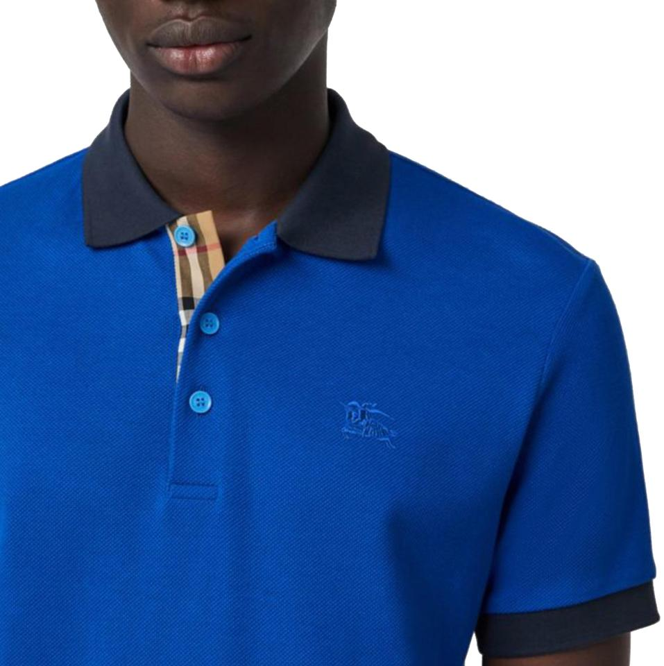 387547970 Burberry Cerulean Blue XS Men s Contrast Collar Cotton Polo Tee Shirt