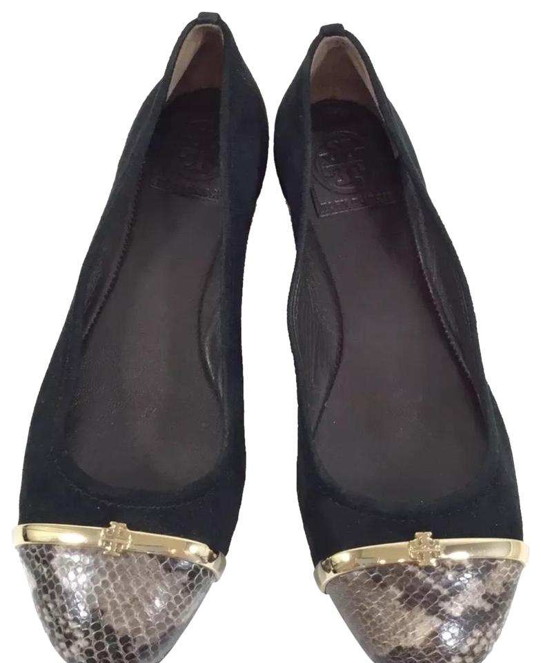 4dc5b4b8edd8 Tory Burch Black Suede with Snakeskin Cap Flats Size US 8 Regular (M ...