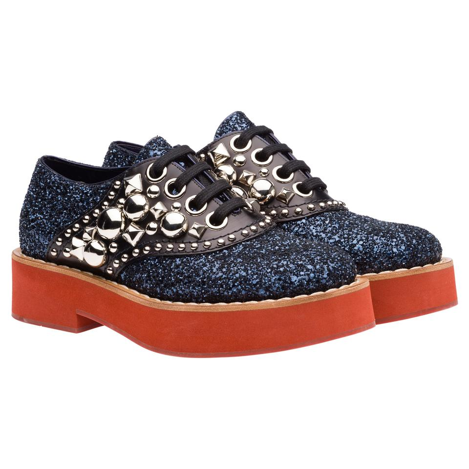 952fff59eadb Miu Miu Blue Glitter Black Leather Silver Studs Platform Oxfords ...