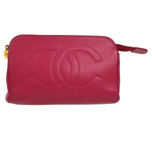 Chanel Chanel leather cosmetic pouch