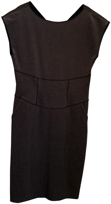 Item - Black and White Mid-length Short Casual Dress Size 12 (L)