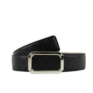Gucci Black Rectngular Leather Belt with Silver Buckle 162946 1000(115 / 46) Groomsman Gift