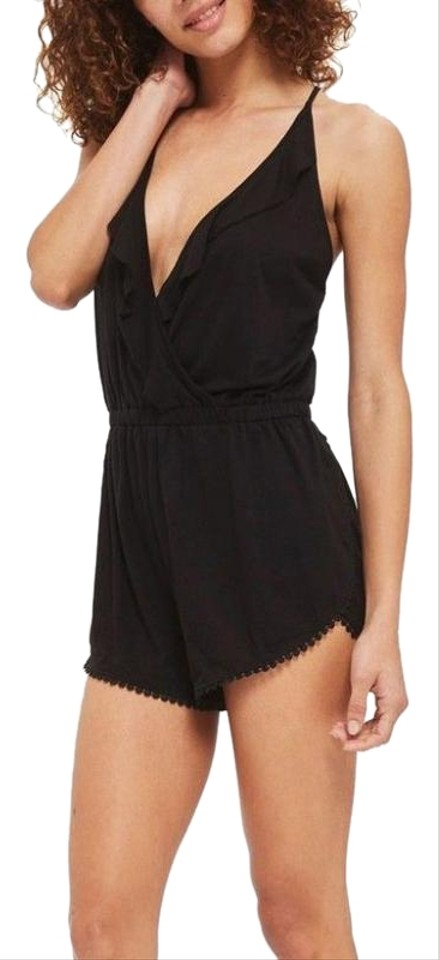 8a4b0913639b Topshop Black Jersey Wrap Cover Up Size L Romper Jumpsuit - Tradesy