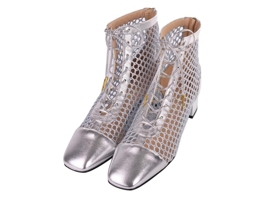 85c6b0801d Dior Silver Women Naughtily-d Laminated Leather Mesh Ankle Boots C3308  Pumps Size US 9 Regular (M, B) 39% off retail