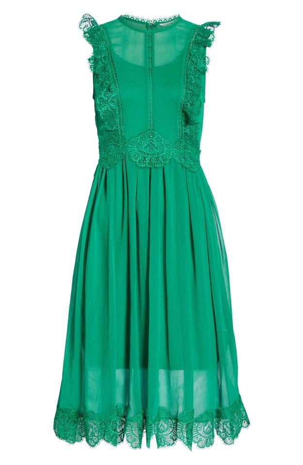 7b7a86132 Ted Baker Green Porrla Frill Lace Midi Mid-length Night Out Dress ...