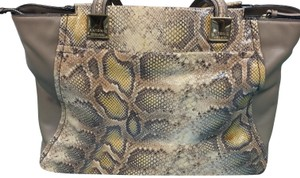 Antonio Melani Smoke Free Home Dust Included Tote in Taupe /Cream Soft Snakeskin