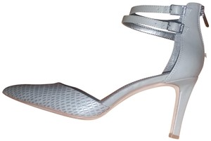 d111a0bbf185 Calvin Klein Leather Ankle Strap Silver Hardware Pointed Toe Grey Pumps