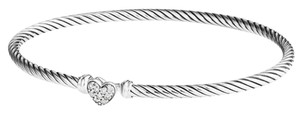 """David Yurman GORGEOUS!! LIKE NEW!!! David Yurman Cable Collectibles Heart Bracelet with Diamonds 3mm Sterling Silver Diamonds weighing 0.09 carats total weight Hook Clasp 3mm Size: 6.75"""" 100% Authentic Guaranteed!!! Comes with Original David Yurman Pouch!!!"""