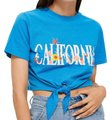Topshop Stretch California Size 8 T Shirt Blue