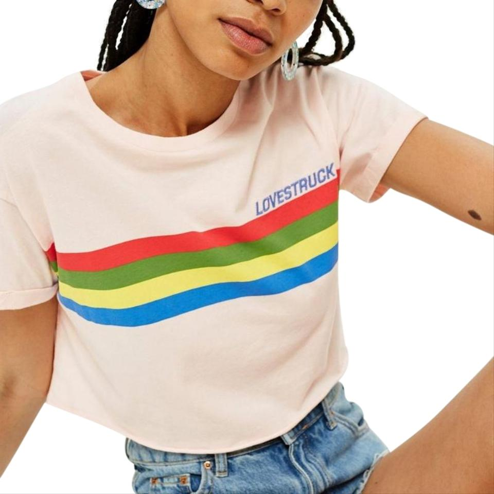 0605ecb57 Topshop Multicolor Love Struck Embroidered Graphic Sleeve Crop Tee Shirt