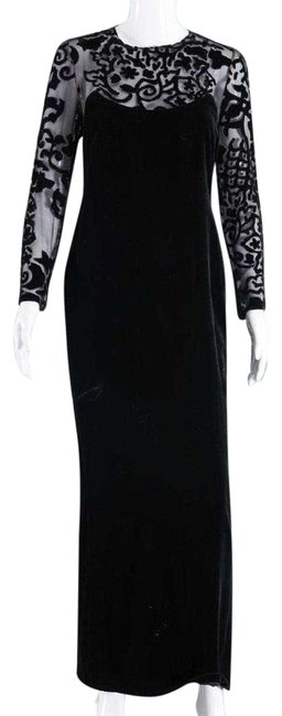 Item - Black Vintage Silk Velvet with Devore Illusion Bodice & Sleeves Long Formal Dress Size 8 (M)