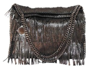 Stella McCartney Faux Leather Fringe Detail Metallic Tote in Gunmetal