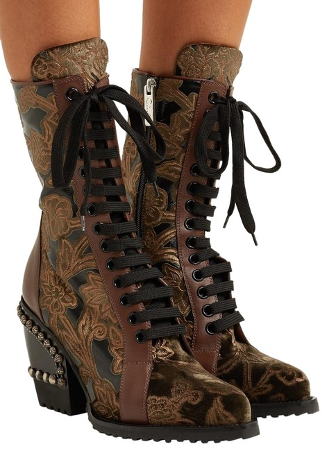 Item - Green And Brown Studded Brocade and Appliquéd Boots/Booties Size EU 38 (Approx. US 8) Regular (M, B)