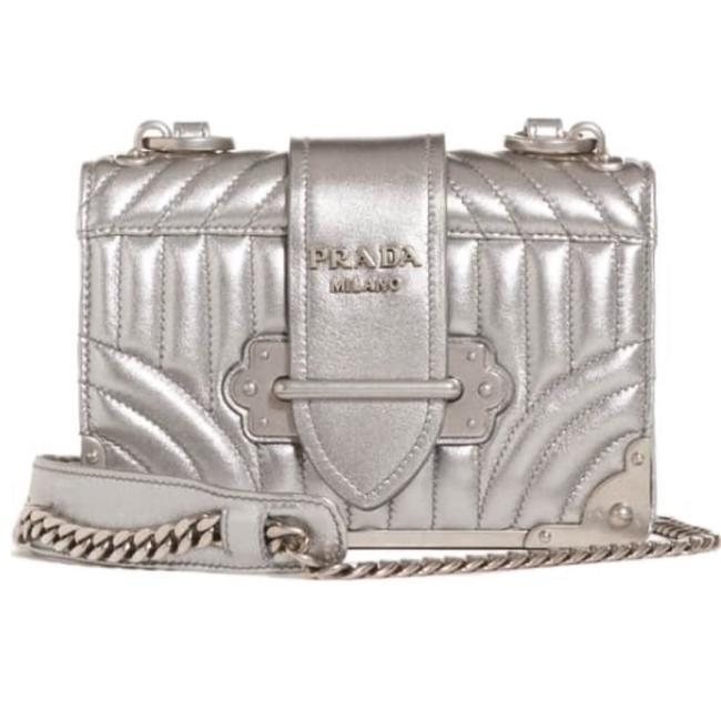 Item - Cahier Quilted Metallic Silver Lambskin Leather Cross Body Bag