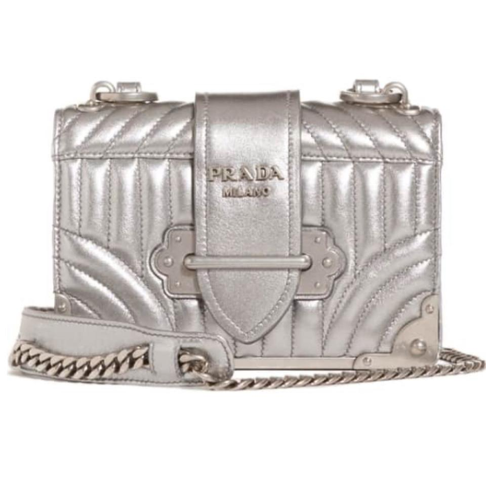 549da48e01df Prada Cahier Quilted Metallic Silver Lambskin Leather Cross Body Bag ...