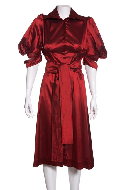Item - Red Silk Short Casual Dress Size 10 (M)