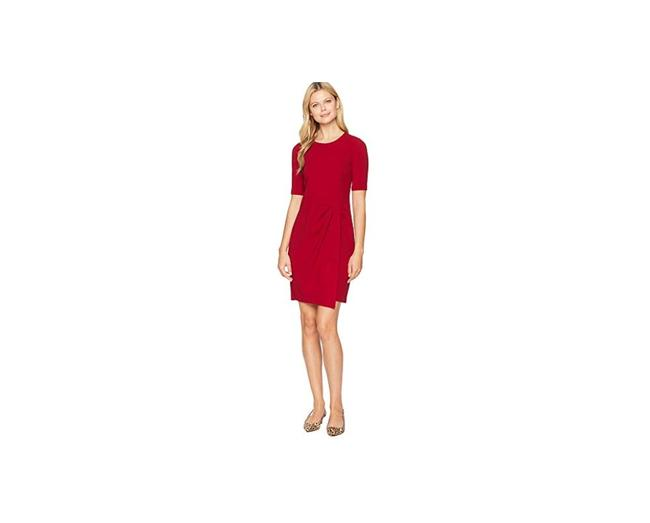 Item - Red Metro Knit Jewel Neck Wrap Front Sheath 0 Mid-length Cocktail Dress Size 0 (XS)