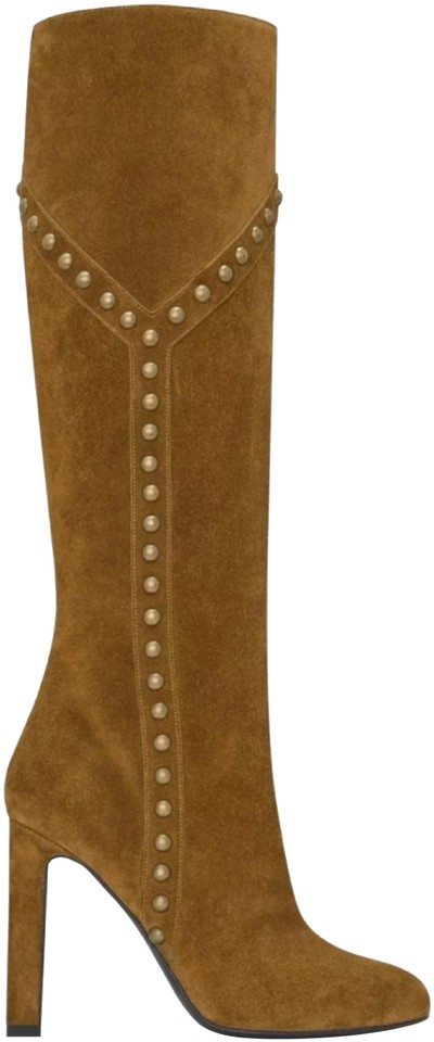 e7b9b4ac0b7 Saint Laurent Fox / Tan / Brown Grace 105 Y Studded Suede Ysl Boots/Booties