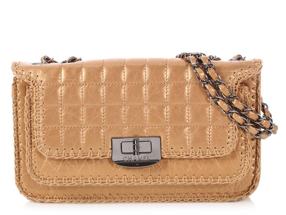 453238c27104 Chanel Whipstitched Flap Small Quilted Distressed Gold Calfskin Leather  Shoulder Bag