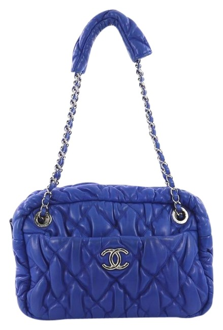 Item - Blue Camera Bag Bubble Quilted Lambskin Small Tech Accessory